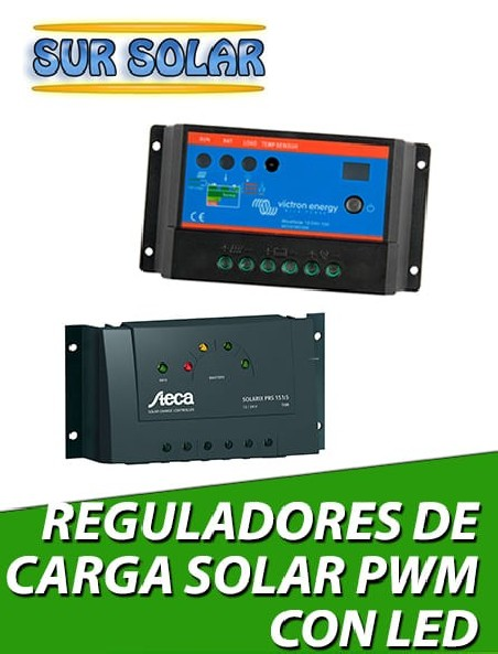 Reguladores de carga solar PWM con Led